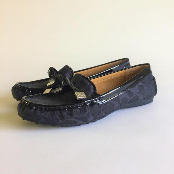 69f48ee782f Coach Shoes - Coach Textile Logo Patent Leather Black Flats Sz8B